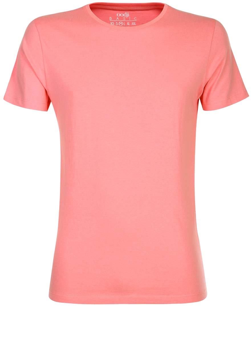Футболка мужская oodji Basic, цвет: светло-коралловый. 5B621002M/44135N/4100N. Размер S (46/48) футболка мужская oodji basic цвет светло коралловый 5b621002m 44135n 4100n размер s 46 48