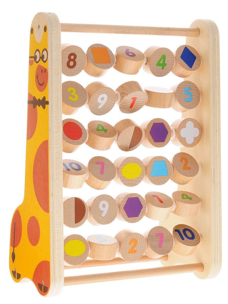 Мир деревянных игрушек Развивающая игра Счеты цифры и фигуры Ученый жираф -