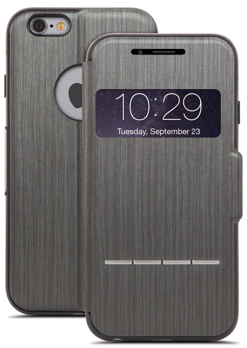 Moshi SenseCoverчехол дляiPhone 6 Plus/6s Plus, Black Steel21775Чехол Moshi SenseCover для iPhone 6 Plus/6s Plus обеспечивает смарт-функциональность и полную защиту вашего iPhone. Встроенные SensArray кнопки-подушечки позволяют отвечать на звонки, не открывая крышку. Кроме того, окно просмотра, устойчивое к царапинам, позволяет проверить такую информацию, как дата / время и номер вызывающего абонента с одного взгляда. Чехол легко трансформируется в подставку, создавая комфорт при работе, чтении, просмотре фильмов.