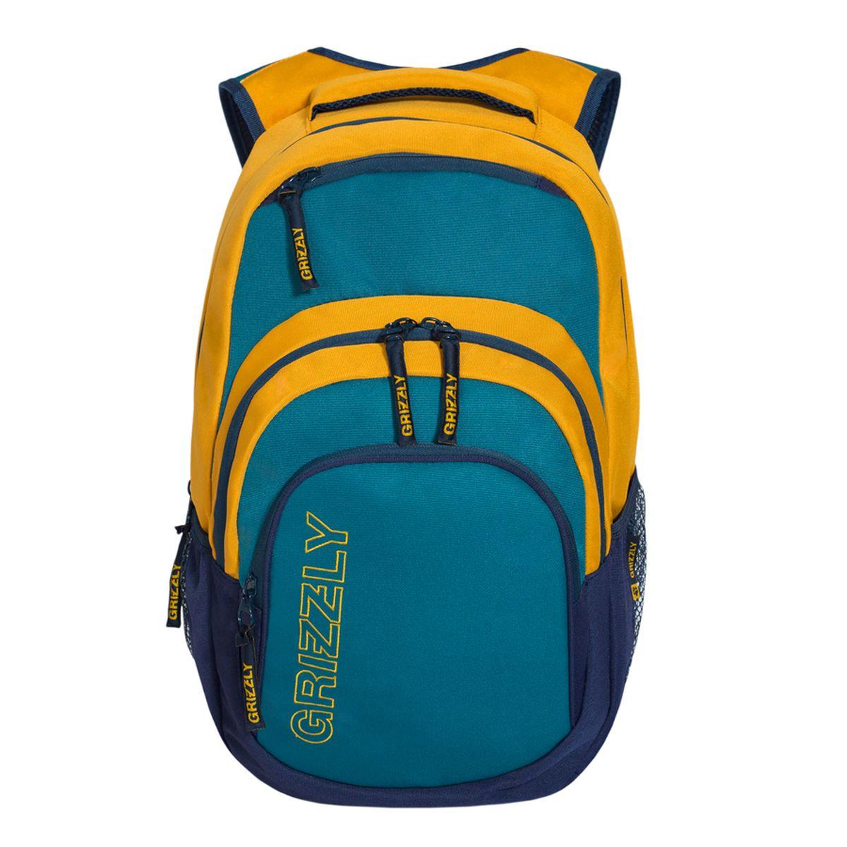 Рюкзак городской Grizzly, цвет: бирюзовый, желтый. 32 л. RU-704-1/3 рюкзак городской grizzly цвет черный желтый 22 л ru 603 1 2
