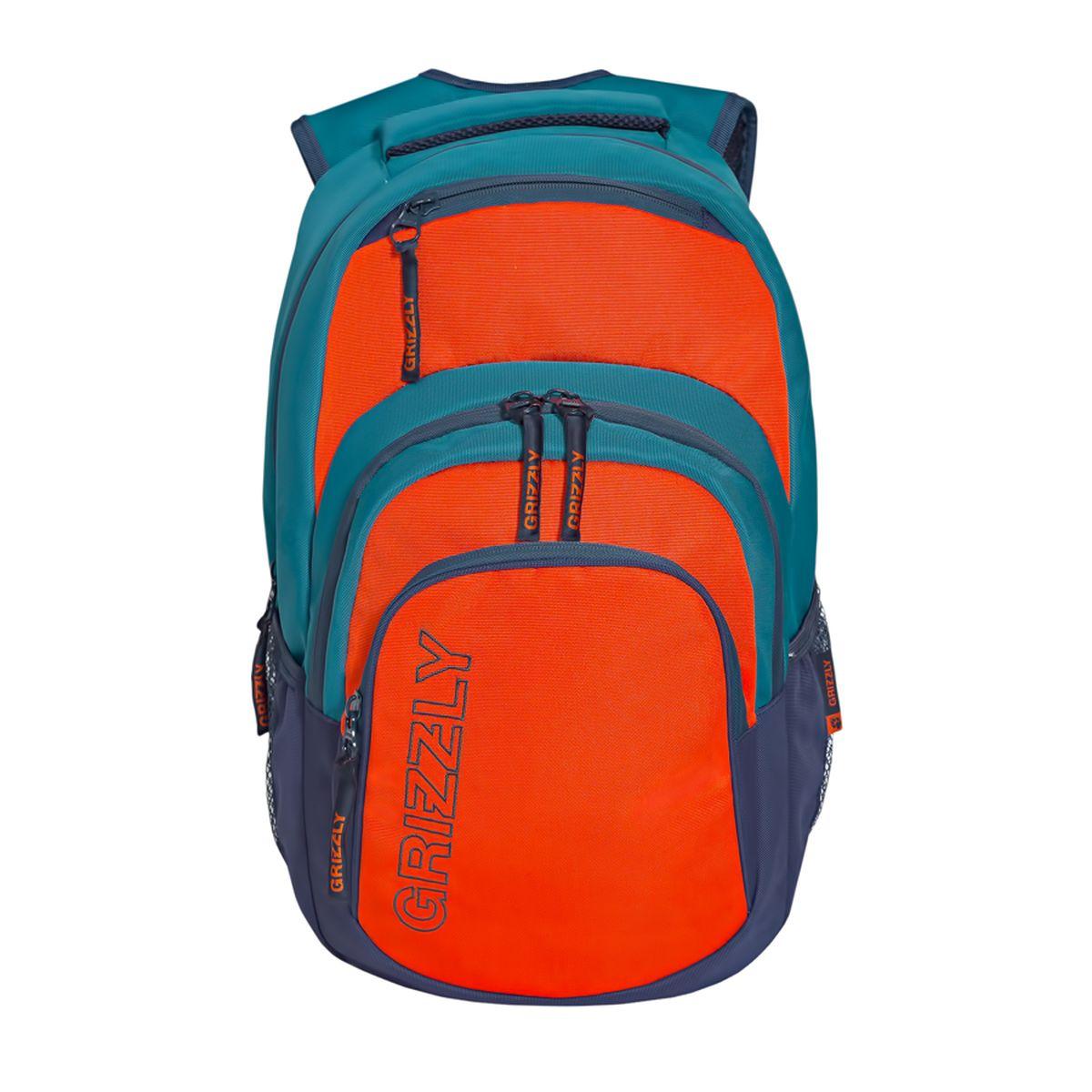 Рюкзак городской Grizzly, цвет: бирюзовый, оранжевый. 32 л. RU-704-1/4RU-704-1/4Рюкзак городской Grizzl выполнен из высококачественного таслана. Рюкзак имеет ручку-петлю для подвешивания и две укрепленные лямки, длина которых регулируется с помощью пряжек. Модель имеет одно основное отделение, которое дополнено внутренним составным пеналом-органайзером и укрепленным карманом для ноутбука. Передняя сторона оснащена двумя объемными карманами на молнии и верхним кармашком быстрого доступа.Боковые стенки дополнены объемными карманами из сетки. Тыльная сторона рюкзака имеет укрепленную спинку и нагрудную стяжку-фиксатор.