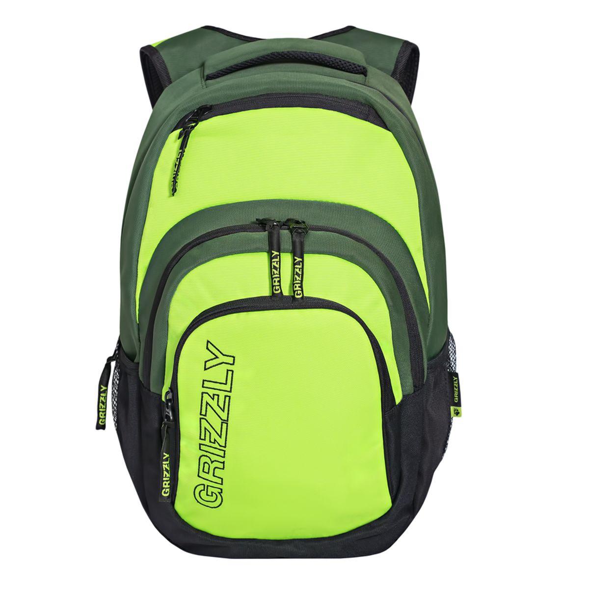 Рюкзак молодежный Grizzly, цвет: черный-салатовый. 32 лRU-704-1/2Рюкзак Grizzly выполнен из высококачественного таслана иоформлен фирменной вышивкой. Изделие имеет одно отделение, карман на молнии на передней стенке, объемный карман на молнии на передней стенке, боковые карманы из сетки и карман быстрого доступа в верхней части. Рюкзак оснащен укрепленной спинкой, мягкой укрепленной ручкой, нагрудной стяжкой-фиксатором и укрепленными лямками. Внутри расположен составной пенал-органайзер иукрепленный карман для ноутбука.