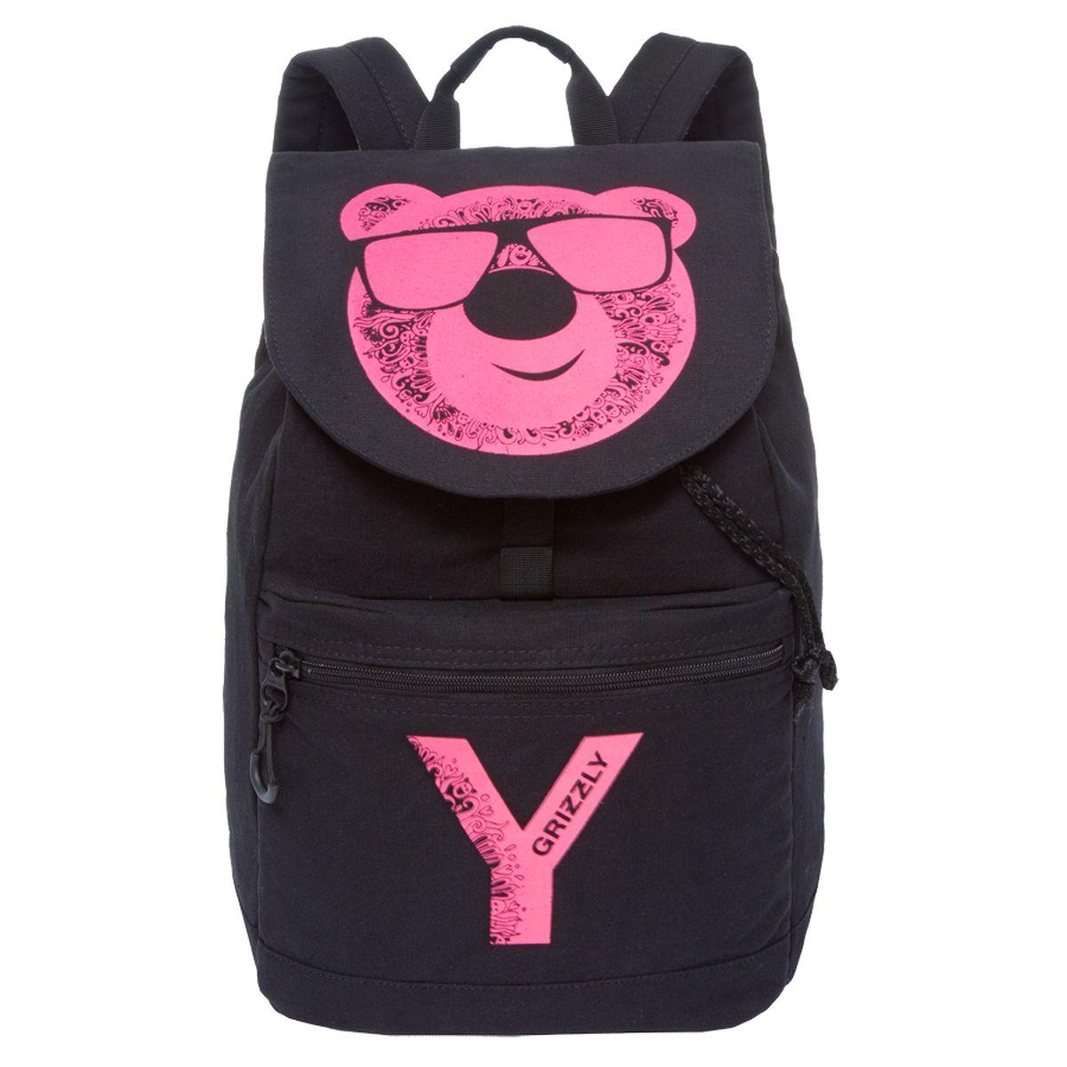 Рюкзак молодежный Grizzly, цвет: черный-фиолетовый. 18 л. RD-744-1/4RD-744-1/4Рюкзак молодежный Grizzly содержит одно отделение, клапан на пряжке-крючке, объемный карман на молнии на передней стенке, карман для гаджета,внутренний карман на молнии, укрепленная спинка, дополнительная ручка-петля, укрепленные лямки, закрывается затягивающимся шнуром.