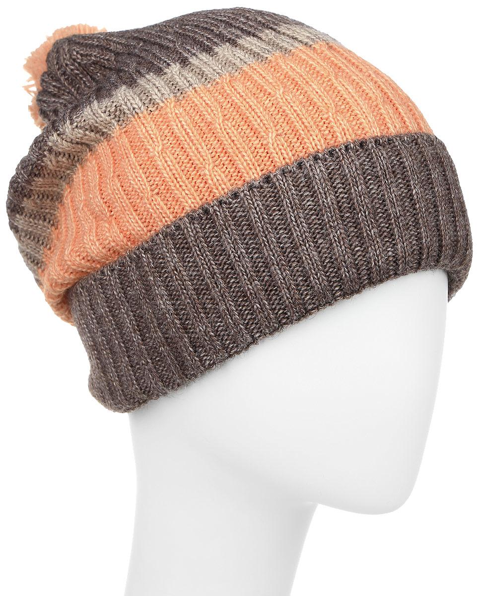 Шапка женская Elfrio, цвет: кофе. RWH6502/2. Размер 56/58RWH6502/2Женская шапка Elfrio выполнена из акрила, подкладка - из полиэстера. Модель оформлена узорной вязкой контрастных цветов. Изделие дополнено небольшим помпоном, по низу - подворотом.Уважаемые клиенты!Размер, доступный для заказа, является обхватом головы.