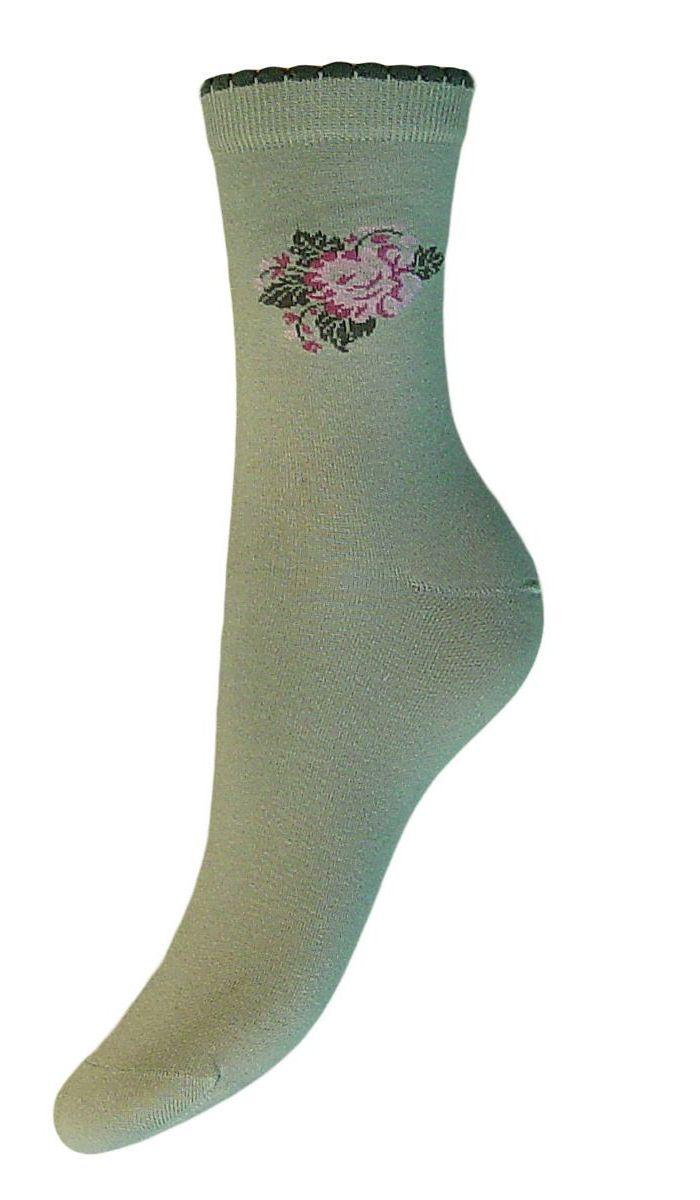 Носки женские Гранд, цвет: серо-зеленый, 2 пары. SCL77. Размер 23/25SCL77Женские носки Гранд выполнены из высококачественного хлопка. Носки, оформленные на паголенке рисунком цветок, изготовлены по европейским стандартам из самой лучшей гребенной пряжи. Они имеют безупречный внешний вид, усиленные пятку и мысок для повышенной износостойкости, после стирки не меняют цвет. Носки долгое время сохраняют форму и цвет, а так же обладают антибактериальными и терморегулирующими свойствами.