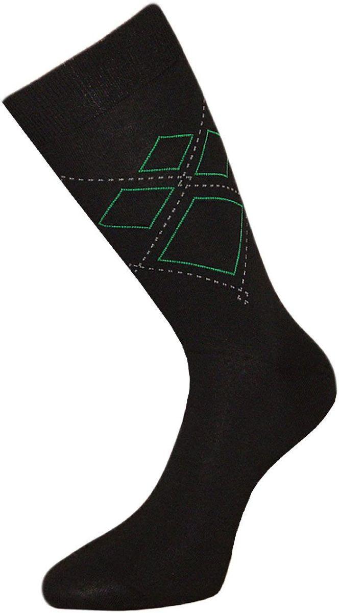 Носки мужские Гранд, цвет: черный, зеленый, 2 пары. ZC73. Размер 27ZC73Мужские носки Гранд выполнены из хлопка, для повседневной носки. Основа материала - высококачественный хлопок. Модель оформлена текстурным рисунком ромбы. Носки с бесшовной технологией зашивки мыска (кеттельный шов) хорошо держат форму и обладают повышенной воздухопроницаемостью, имеют безупречный внешний вид, усиленные пятку и мысок для повышенной износостойкости, после стирки не меняют цвет. Функция отвода влаги позволяет сохранить ноги сухими. Носки произведены по европейским стандартам на современных вязальных автоматах.