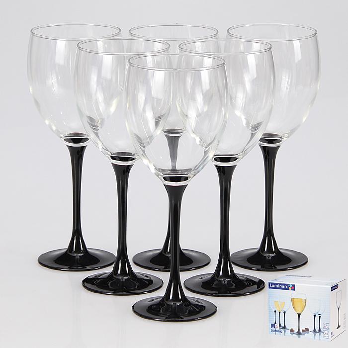 Набор бокалов Luminarc Домино, 350 мл, 6 штJ0015Стильный набор бокалов для красного вина Домино от Luminarc подойдет для использования в любых интерьерах. Бокалы выполнены в современном дизайне, необычности им добавляет изящная черная ножка. Они изготовлены из ударопрочного стекла, которое долговечно, не впитывает запахи и обладает антибактериальными свойствами. Набор состоит из шести бокалов, каждый объемом 350 мл. Он надежен и долговечен. Можно мыть в посудомоечной машине.Диаметр бокала (по верхнему краю): 7,5 см. Высота бокала: 20,5 см.