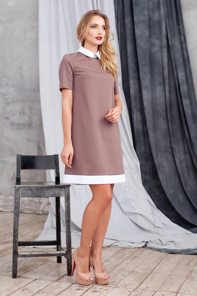 Платье Ruxara, цвет: какао. 0113741. Размер 480113741Элегантное платье из ткани костюмной группы. Модель трапециевидного силуэта с коротким рукавом. Низ платья оформлен полосой контрастного цвета. Воротник отложной на стойке с застежкой на пуговицы сзади. В среднем шве спинки застежка на потайную молнию. Нежное платье поможет создать образы на разные случаи жизни.