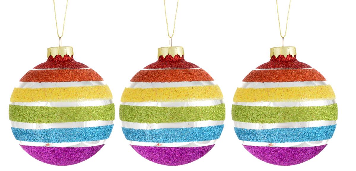 Набор новогодних подвесных украшений Winter Wings Шар. Радуга, цвет: синий, зеленый, красный, диаметр 8 см, 3 штN07697Набор подвесных украшений Winter Wings Шар. Радуга прекрасно подойдет для праздничного декора новогодней ели. Набор состоит из 3 стеклянных украшений в виде шаров, оформленных блестками. Для удобного размещения на елке для каждого украшения предусмотрена текстильная петелька.Диаметр украшения: 8 см.Елочная игрушка - символ Нового года. Она несет в себе волшебство и красоту праздника. Создайте в своем доме атмосферу веселья и радости, украшая новогоднюю елку нарядными игрушками, которые будут из года в год накапливать теплоту воспоминаний. Откройте для себя удивительный мир сказок и грез. Почувствуйте волшебные минуты ожидания праздника, создайте новогоднее настроение вашим дорогим и близким.