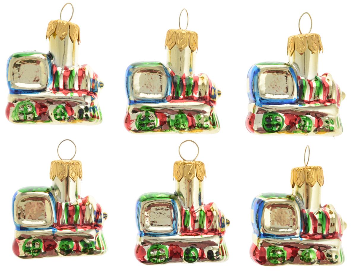 Набор новогодних подвесных украшений Winter Wings Поезд, цвет: золотой, красный, синий, длина 4 см, 6 штN07251Набор Winter Wings Поезд состоит из 6 подвесных украшений, выполненных из стекла. Оригинальные новогодние украшения в виде поезда прекрасно подойдут для праздничного декора дома и новогодней ели. С помощью специальной петельки их можно повесить в любом понравившемся вам месте. Но, конечно, удачнее всего такие игрушки будут смотреться на праздничной елке. Елочная игрушка - символ Нового года и Рождества. Она несет в себе волшебство и красоту праздника. Создайте в своем доме атмосферу веселья и радости, украшая новогоднюю елку нарядными игрушками, которые будут из года в год накапливать теплоту воспоминаний. Размер украшения: 4 х 3,5 х 1,7 см.