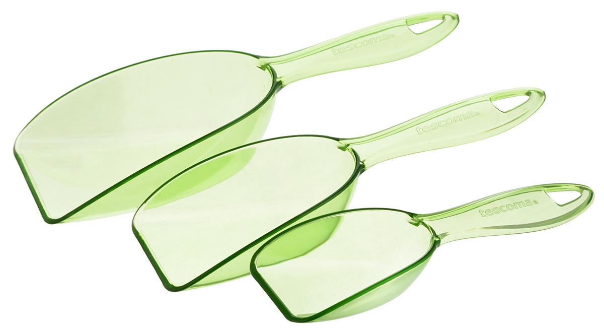 Ложка для сыпучих продуктов Tescoma Presto, цвет: зеленый, 3 шт420740_зеленыйЛожки Tescoma Presto разного размера предназначены длянасыпания сыпучих продуктов. Выполнены извысококачественногоударопрочного пластика, оснащены отверстиями дляподвешивания. В комплект входит кольцо для совместногохранения. Можно мыть в посудомоечной машине. Размер большой ложки: 21 х 7 х 4,5 см. Размер средней ложки: 19 х 6 х 3,5 см. Размер маленькой ложки: 16 х 4,5 х 2,5 см.
