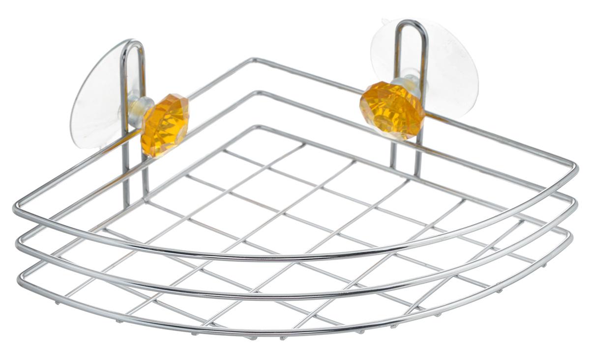 """Одноярусная полка для ванной Top Star """"Kristall"""" изготовлена изхромированной стали, которая надолго защитит изделиеот ржавчины в условиях высокой влажности в ванной комнате.Изделие декорировано двумя кристаллами и имеет угловую конструкцию. Крепится полка при помощи двух присосок. Для надежности крепления присосок, необходимо устанавливать на гладкой, воздухонепроницаемой, очищенной и обезжиренной поверхности. Данное изделие изящно дополнит интерьер вашей ваннойкомнаты.Размер полки: 24 х 18 х 8,5 см."""