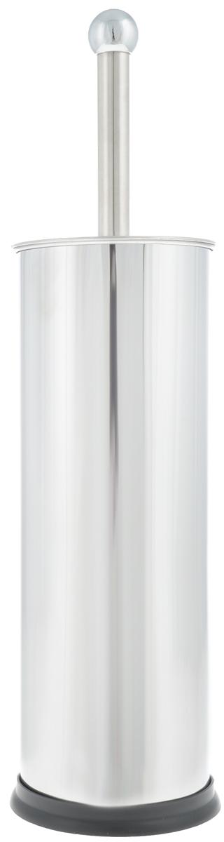 Гарнитур для туалета Axentia, 2 предмета. 120308120308_новый дизайнГарнитур для туалета Axentia включает ершик и металлическую подставку. Ершик для унитаза имеет ручку из нержавеющей стали и белые щетки, с жестким густым ворсом. Подставка, выполненная в виде цилиндра из нержавеющей стали, имеет крышку и декоративные отверстия по верхней части окружности. Высококачественные материалы позволят наслаждаться покупкой долгие годы. Изделие приятно дополнит интерьер вашей туалетной комнаты.Длина ершика (с ручкой): 35 см.Длина ворса: 2,5 см.Диаметр подставки: 9,5 см.Высота подставки: 27 см.