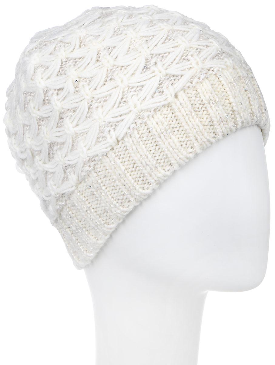Шапка женская Snezhna, цвет: белый. SWH5973/2. Размер 56/58SWH5973/2Вязаная женская шапка Snezhna идеально подойдет для вас в холодное время года. Изготовленная из шерсти и полиамида с добавлением мохера, она мягкая и приятная на ощупь, обладает хорошими дышащими свойствами и максимально удерживает тепло. Подкладка шапки выполнена из мягкого теплого флиса. Модель плотно прилегает к голове, благодаря чему надежно защищает от ветра и мороза.Шапка оформлена вязаным узором, а также декорирована мелкими переливающимися пайетками и небольшой металлической пластиной с логотипом бренда.Такой стильный и теплый аксессуар дополнит ваш образ и подчеркнет индивидуальность!Уважаемые клиенты!Размер, доступный для заказа, является обхватом головы.
