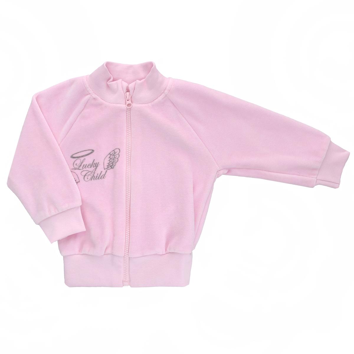 Кофточка детская Lucky Child Ангелы, цвет: розовый. 17-18. Размер 80/86