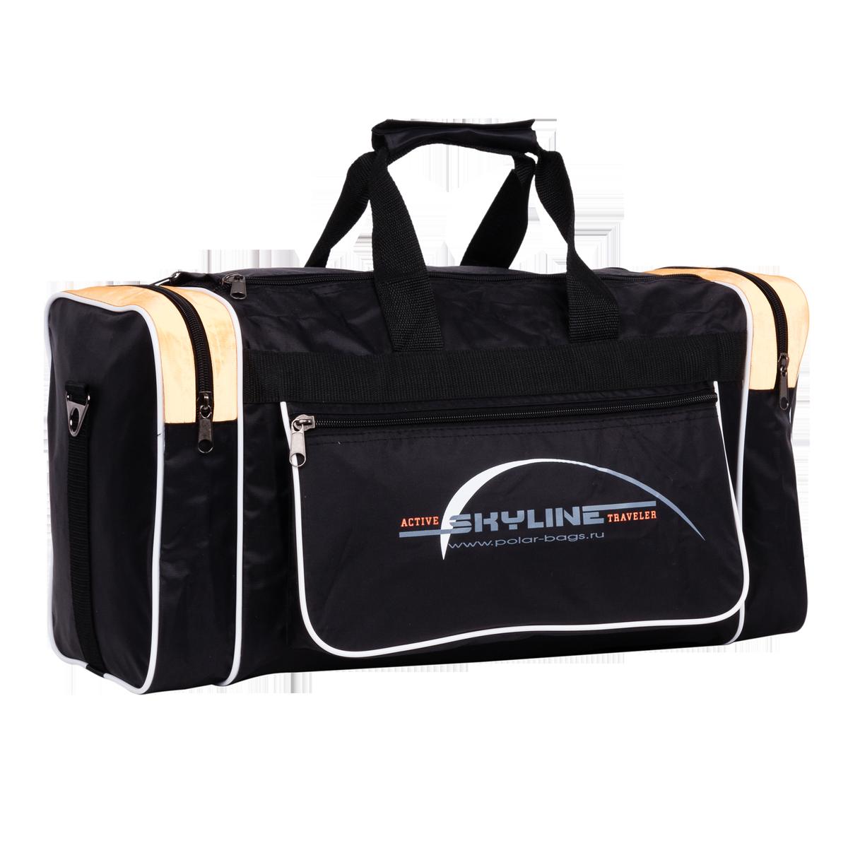 Сумка спортивная Polar, цвет: черный, бежевый, 30,5 л. 6007 сумка спортивная мужская adidas cvrt 3s duf m цвет черный 37 л cg1533