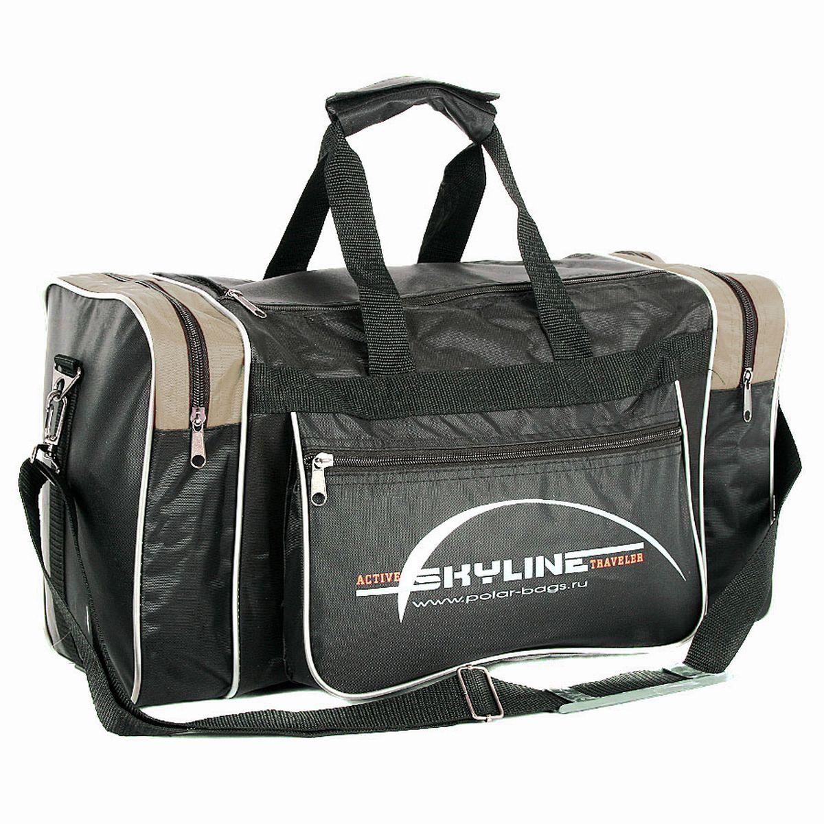 Сумка спортивная Polar, цвет: черный, бежевый, 23 л. 6009 сумка спортивная мужская adidas cvrt 3s duf m цвет черный 37 л cg1533