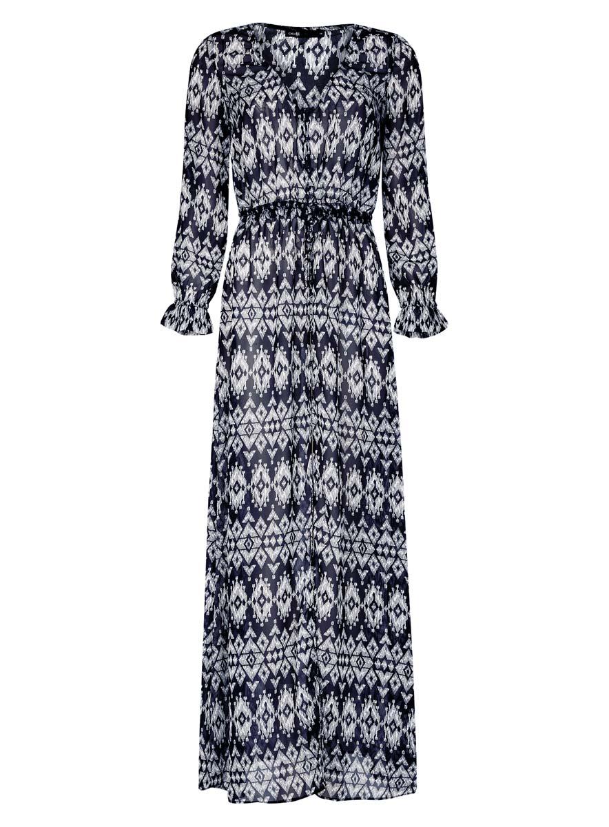 Платье oodji Ultra, цвет: темно-синий, белый. 11900187/13632/7912E. Размер 34 (40-170)11900187/13632/7912EСтильное платье oodji Ultra выполнено из 100% полиэстера. Модель длинной макси с V-образным вырезом горловины и длинными рукавами спереди застегивается на пуговицы. По линии талии изделие дополнено текстильным шнурком.