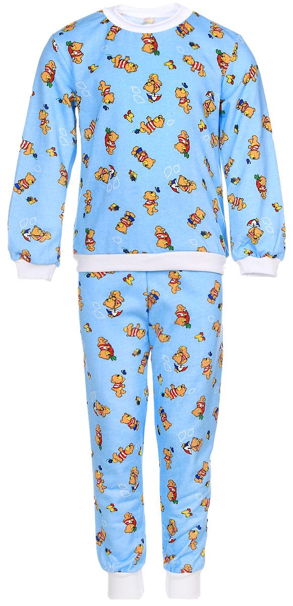 Пижама детская Фреш Стайл, цвет: голубой. 21-5872. Размер 11021-5872_мишкиДетская пижама Фреш Стайл выполнена из натурального хлопка. Изнаночная сторона изделия с мягким и теплым начесом. Футболка с длинными рукавами имеет круглый вырез горловины, оформленный трикотажной резинкой. На рукавах предусмотрены мягкие манжеты. Низ изделия дополнен широкой трикотажной резинкой.Брюки имеют эластичный пояс. Брючины дополнены манжетами.Пижама оформлена принтом.