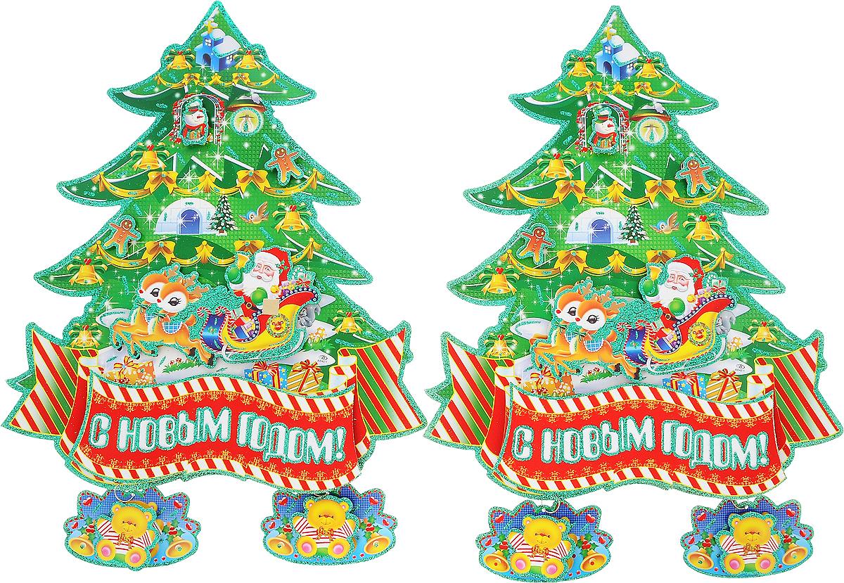 """Оконное украшение Winter Wings """"Новогодняя елка"""" поможет украсить дом к предстоящим праздникам. Наклейки изготовлены из картона и украшены блестками.  С помощью этих украшений вы сможете оживить интерьер по своему вкусу, наклеить их на окно, на зеркало или на дверь.Новогодние украшения всегда несут в себе волшебство и красоту праздника. Создайте в своем доме атмосферу тепла, веселья и радости, украшая его всей семьей. Количество наклеек на листе: 2 шт. Средний размер наклейки: 49 х 40 см."""
