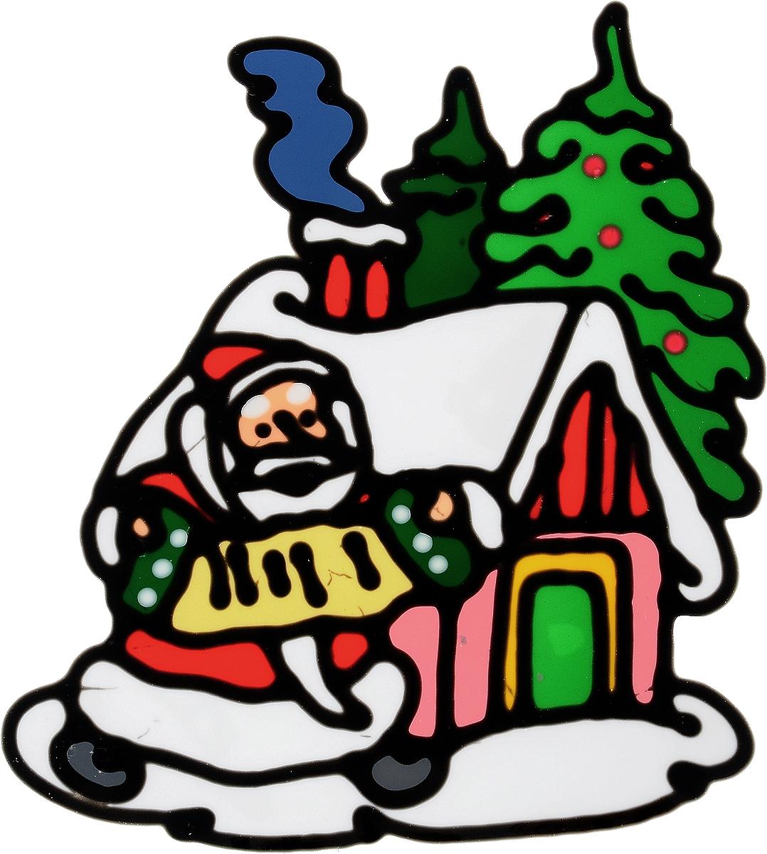 """Новогоднее оконное украшение Winter Wings """"Дед Мороз у домика"""" поможет украсить дом к предстоящим праздникам. Наклейка изготовлена из ПВХ.  С помощью этих украшений вы сможете оживить интерьер по своему вкусу, наклеить их на окно, на зеркало или на дверь.Новогодние украшения всегда несут в себе волшебство и красоту праздника. Создайте в своем доме атмосферу тепла, веселья и радости, украшая его всей семьей. Размер наклейки: 16 х 17,5 см."""