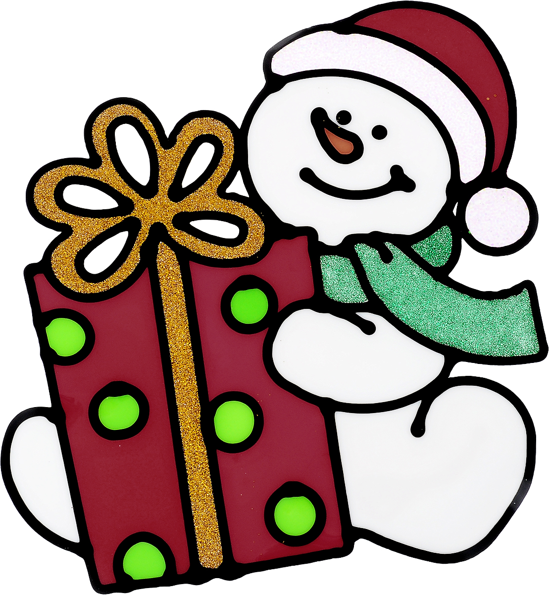 Украшение новогоднее оконное Winter Wings Снеговик с подарком, 16 х 17,5 смN09238Новогоднее оконное украшение Winter Wings Снеговик с подарком поможет украсить дом к предстоящим праздникам. Наклейка изготовлена из ПВХ.С помощью этих украшений вы сможете оживить интерьер по своему вкусу, наклеить их на окно, на зеркало или на дверь.Новогодние украшения всегда несут в себе волшебство и красоту праздника. Создайте в своем доме атмосферу тепла, веселья и радости, украшая его всей семьей. Размер наклейки: 18 х 17,5 см.