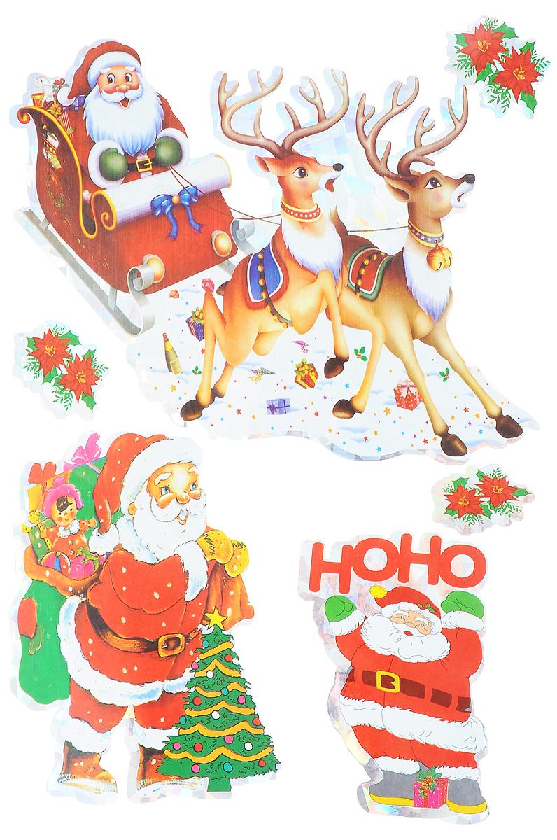 Украшение новогоднее оконное Winter Wings Дед Мороз, 5 шт украшение новогоднее оконное magic time дед мороз на тройке 54 х 21 см