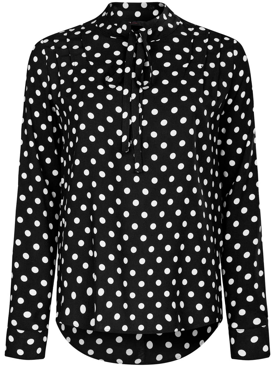 цены Блузка женская oodji Ultra, цвет: черный, белый. 11411123/26346/2912D. Размер 44 (50-170)
