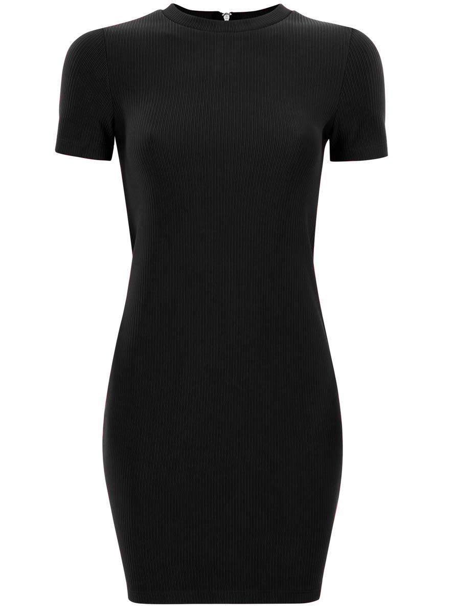 Платье oodji Ultra, цвет: черный. 14011007/45262/2900N. Размер L (48) платье oodji collection цвет черный белый 24001104 1 35477 1079s размер l 48