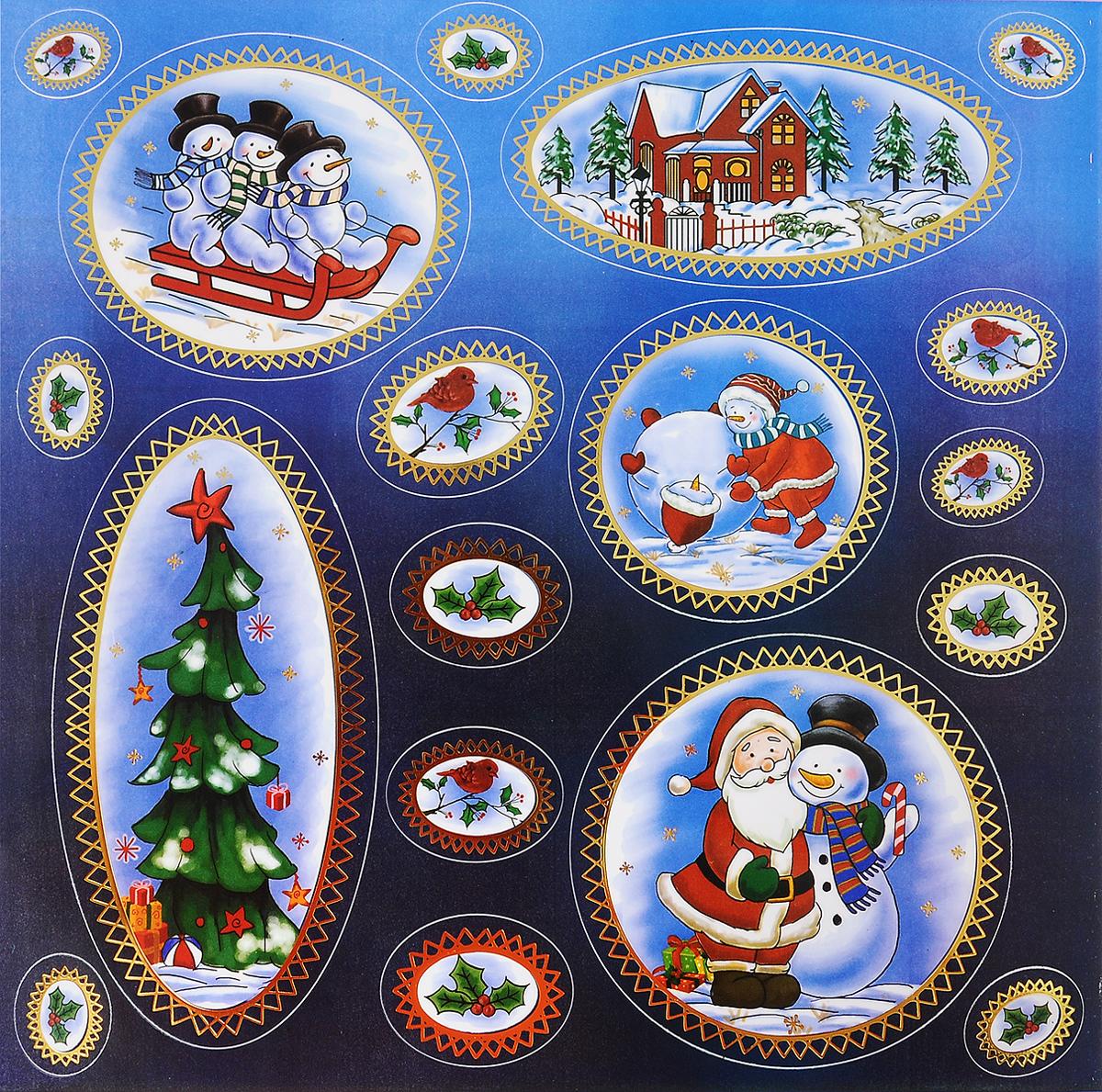 Украшение новогоднее оконное Winter Wings Новогодние мотивы, 18 шт новогоднее оконное украшение room decoration подарки от деда мороза 18 см х 18 см 3 листа