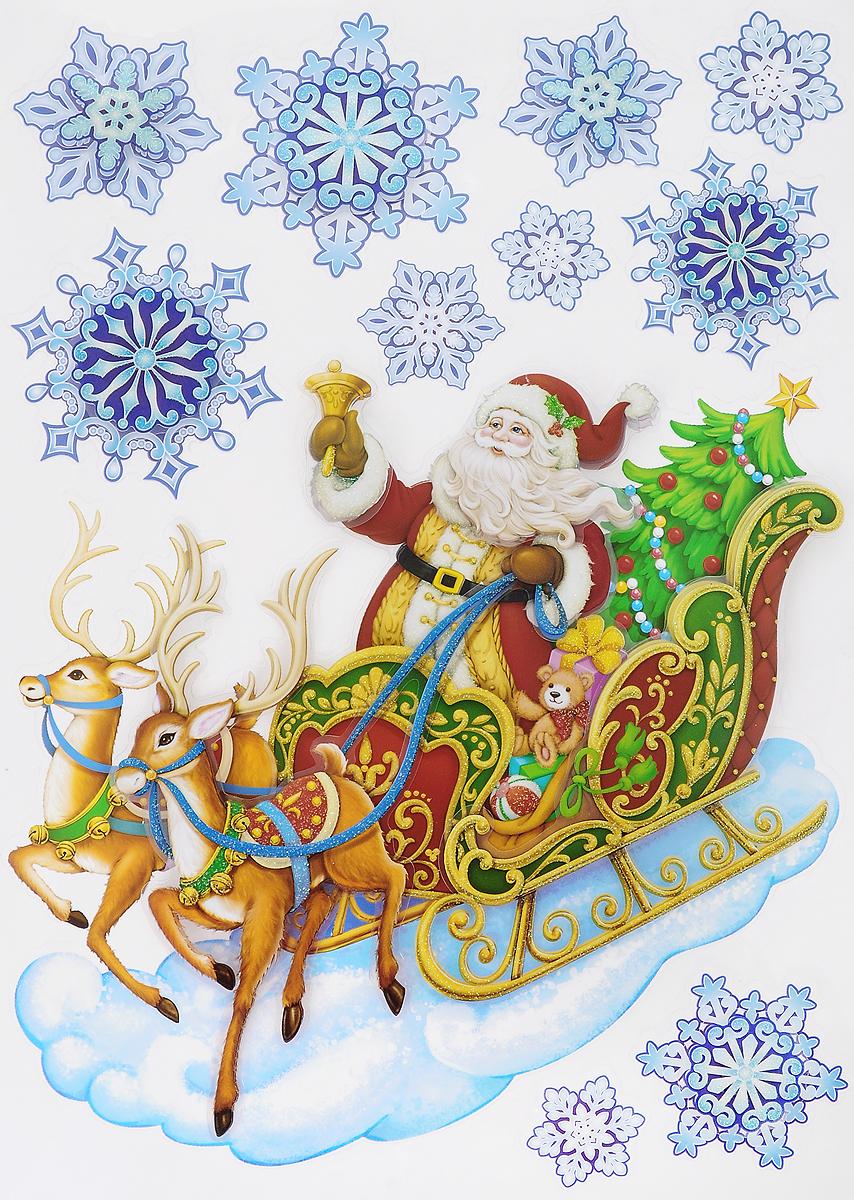 Украшение новогоднее оконное Winter Wings Дед Мороз, 11 штN09347Новогоднее оконное украшение Winter Wings Дед Мороз поможет украсить дом к предстоящим праздникам. Наклейки изготовлены из ПВХ.С помощью этих украшений вы сможете оживить интерьер по своему вкусу, наклеить их на окно, на зеркало или на дверь.Новогодние украшения всегда несут в себе волшебство и красоту праздника. Создайте в своем доме атмосферу тепла, веселья и радости, украшая его всей семьей. Размер листа: 29 х 41 см. Количество наклеек на листе: 11 шт. Размер самой большой наклейки: 28 х 26,5 см. Размер самой маленькой наклейки: 5 х 5 см.