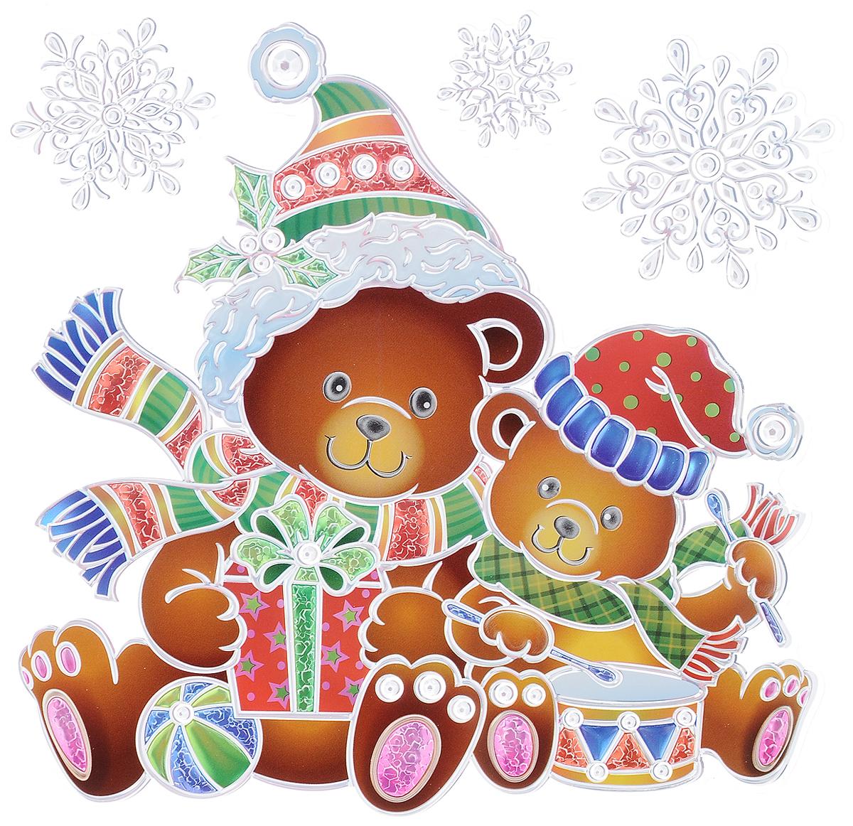 Украшение новогоднее оконное Winter Wings Мишки, 4 шт новогоднее оконное украшение room decoration подарки от деда мороза 18 см х 18 см 3 листа