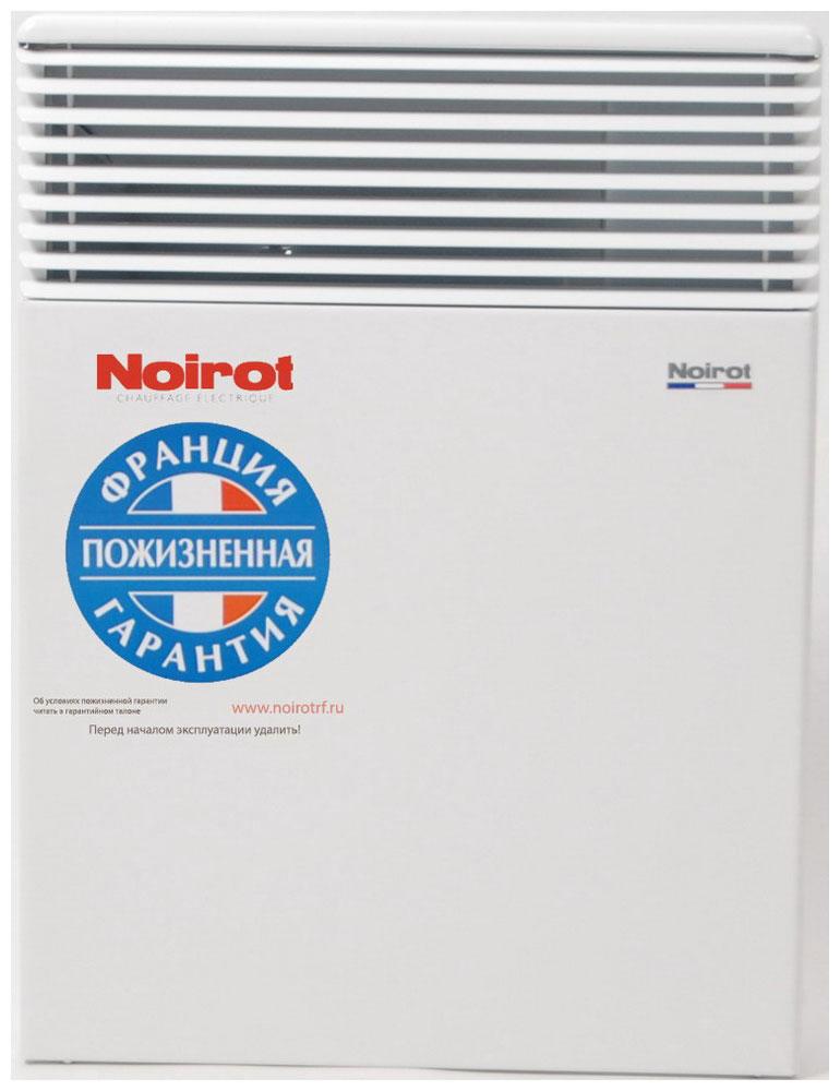 Noirot Spot E-3 Plus 750W обогревательHY73582ARERNoirot Spot E-3 Plus - это новый электрический обогреватель конвективного типа. Вся конструкция направлена на равномерное распределение тепла для обогрева с максимальным комфортом. Конвектор работает по принципу естественной конвекции. Холодный воздух, проходя через прибор и его нагревательный элемент, нагревается и выходит сквозь решетки-жалюзи, незамедлительно начиная обогревать помещение.Конструктивные особенности конвекторов серии Spot E-3 Plus исключают возникновение посторонних шумов при нагреве и остывании электрических обогревателей и гарантируют полную безопасность в эксплуатации (отсутствие острых углов, нагрев поверхности не выше 60°С).Электронная автоматика выдерживает перепады напряжения от 150 В до 242 В, что наиболее актуально при частых скачках напряжения. На случай возможных перебоев с электропитанием в обогревателях предусмотрена функция авторестарта, восстанавливающая работу прибора в прежнем режиме.Обогреватели серии Spot Е-3 Plus оснащены электронным цифровым термостатом ASIC, который поддерживает температуру с точностью до 0,1°С. Высокая точность поддержания температуры приводит к экономии электроэнергии, увеличению срока службы прибора и созданию максимального комфорта в помещении без скачков температуры.Обогреватели имеют II класс электрозащиты, не требуют специального подключения к электросети и не нуждаются в заземлении, что позволяет оставлять их включенными 24 часа в сутки. При точном соблюдении правил эксплуатации исключена любая возможность воспламенения.Все модели серии Spot E-3 Plus выполнены в брызгозащищенном исполнении (IP 24) и могут применяться даже во влажных помещениях.Как выбрать обогреватель. Статья OZON Гид