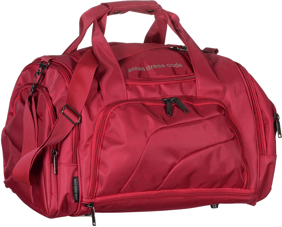 Сумка дорожная Аntan, цвет: красный. 2-1592-159Вместительная дорожная сумка Аntan выполнена из полиэстера.Изделие имеет одно отделение, которое закрывается на застежку-молнию. Снаружи, на передней стенке расположен накладной карман на застежке-молнии, внутри которого предусмотрен накладной сетчатый карман, по бокам - четыре накладных кармана на застежках-молниях, сверху - прорезной карман на застежке-молнии. Основание изделия оснащено карманом на застежке-молнии.Сумка дополнена двумя удобными ручками. В комплект входит съемный регулируемый плечевой ремень. Основание изделия защищено от повреждений пластиковыми ножками.
