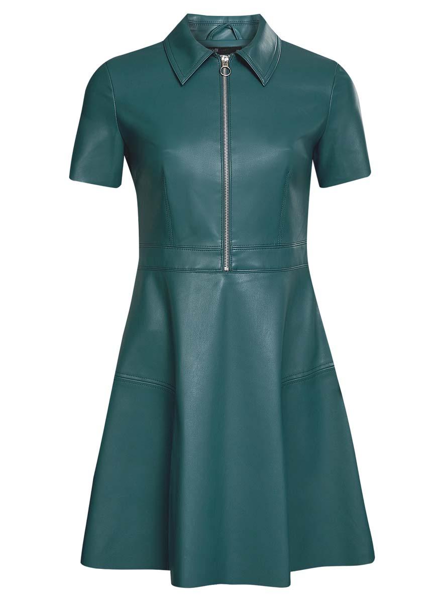 Платье oodji Ultra, цвет: морская волна. 18L02002/45902/6C00N. Размер 38 (44-170)18L02002/45902/6C00NСтильное платье oodji Ultra выполнено из полиэстера и полиуретана. Модель А-силуэта из искусственной кожи с отложным воротником, короткими рукавами и молнией на груди застегивается также на застежку-молнию сбоку.