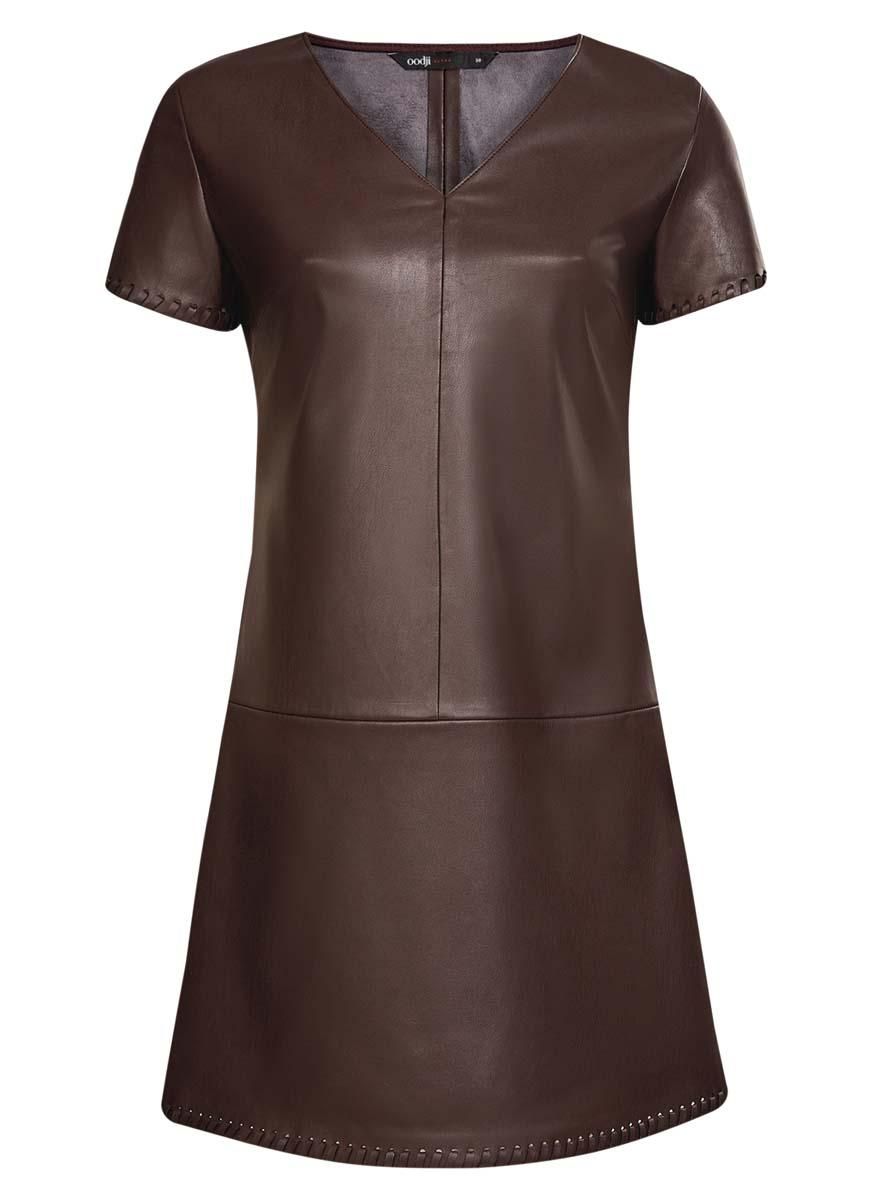 Платье oodji Ultra, цвет: темно-коричневый. 18L03001/43578/3900N. Размер 44 (50-170)18L03001/43578/3900NСтильное платье oodlji Ultra выполнено из искусственной кожи. Модель А-силуэта с V-образным вырезом горловины и короткими рукавами. Края рукавов и низ платья декорированы.