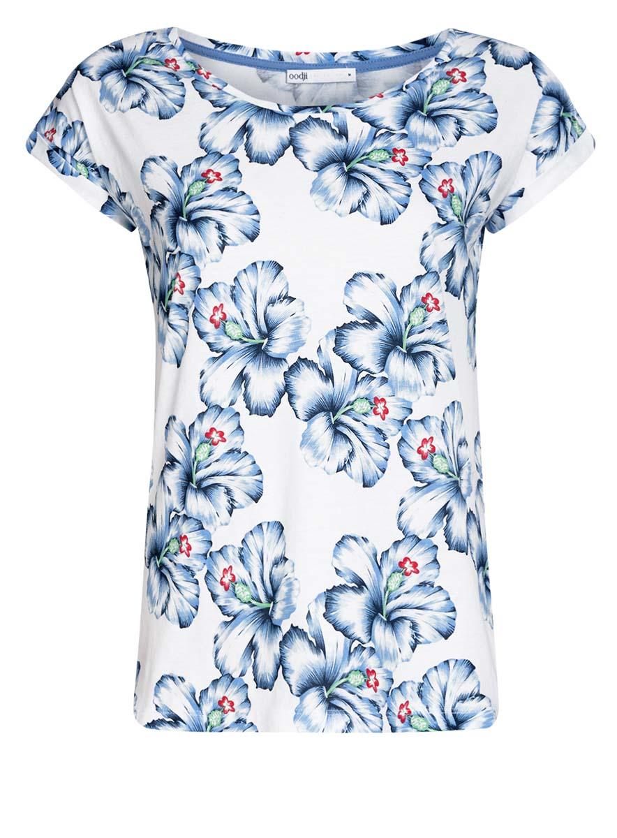 Футболка женская oodji Collection, цвет: белый, голубой. 24708002/42645/1070F. Размер XS (42) пуловеры oodji пуловер
