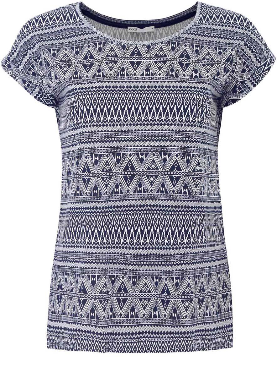 Футболка женская oodji Collection, цвет: темно-синий, белый. 24708002/42645/7910E. Размер L (48) платье oodji collection цвет синий 24007026 37809 7500n размер l 48