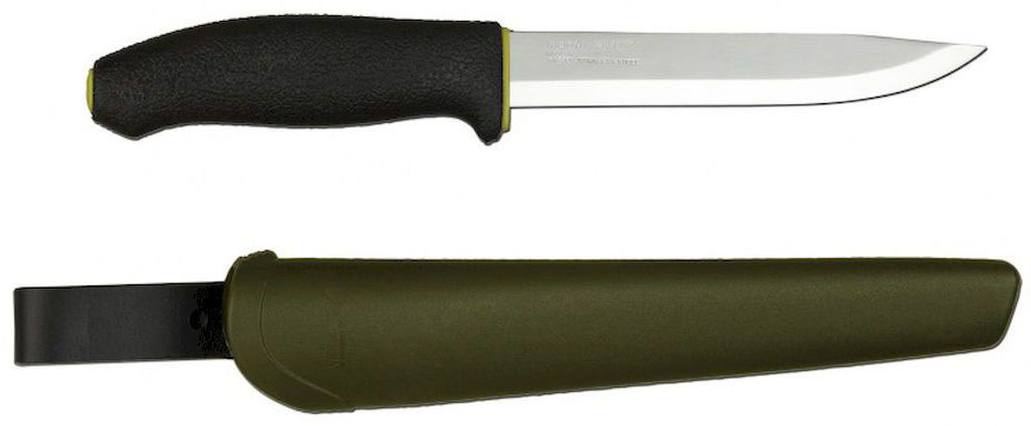 Нож туристический Morakniv 748 MG, цвет: черный, зеленый, стальной, длина лезвия 14,8 см12475Morakniv 748 MG - это многоцелевой нож скандинавского типа, предназначенный для использования в любых условиях, начиная от туризма и охоты и заканчивая промышленностью и строительством.Универсальный нож мора Morakniv 748 MG имеет удобную, не скользящую в руках, эргономическую пластиковую рукоять, снижающую вероятность получения травм и порезов при работе. Рукоятка выдерживает ударные нагрузки и защищает пальцы рук.Лезвие ножа изготовлено из стали Sandvik 12C27. Это, пожалуй, наиболее сбалансированная ножевая сталь, обладающая одновременно отменными характеристиками заточки, высокой прочностью и устойчивостью к коррозии. Рекомендованные области применения стали: охотничьи ножи, туристические ножи, карманные ножи, high-end кухонные ножи и тактические ножи. С диапазоном твердости 54-61 HRC, высокой ударной вязкостью, отличным сохранением режущей кромки и хорошей коррозионной стойкостью, 12C27 является самой рекомендуемой сталью для производства охотничьих и перочинных ножей, высококачественных поварских и тактических ножей.Нож комплектуется пластиковыми ножнами, которые обеспечивают качественную транспортировку и хранение, не боясь повредить одежду и порезаться.Общая длина ножа: 27,5 см.