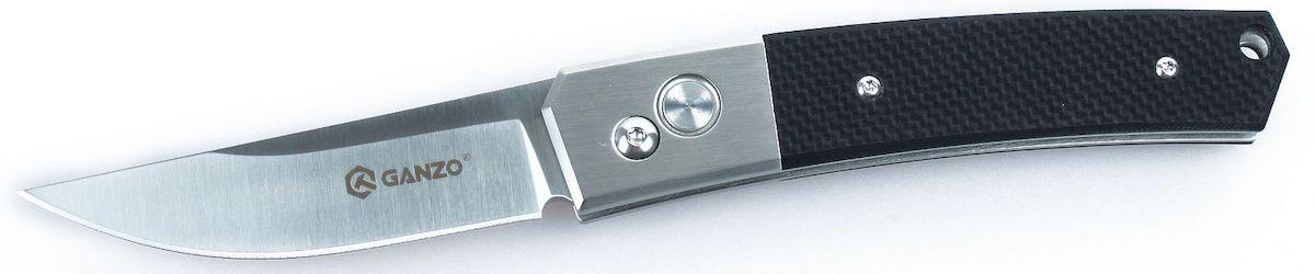Нож туристический Ganzo, цвет: черный, стальной, длина лезвия 8 см. G7361