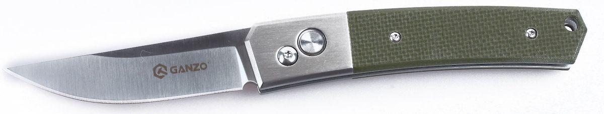 Нож туристический Ganzo, цвет: зеленый, стальной, длина лезвия 8 см. G7361