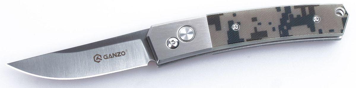 Нож туристический Ganzo, цвет: камуфляж, стальной, длина лезвия 8 см. G7361