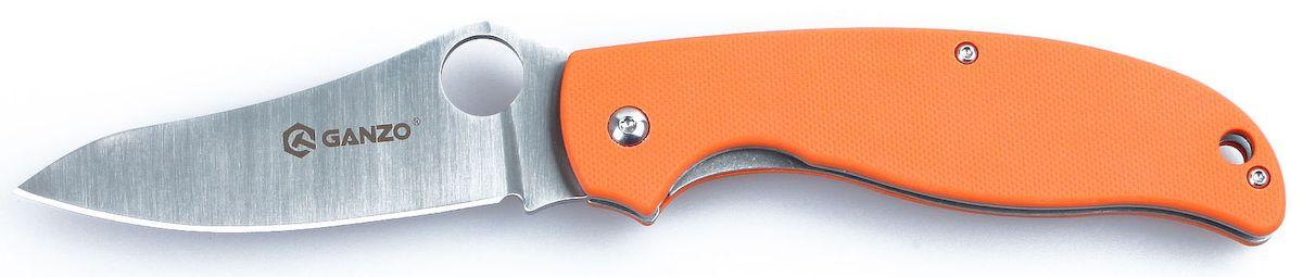 Нож туристический Ganzo, цвет: оранжевый, стальной, длина лезвия 8,9 см. G734