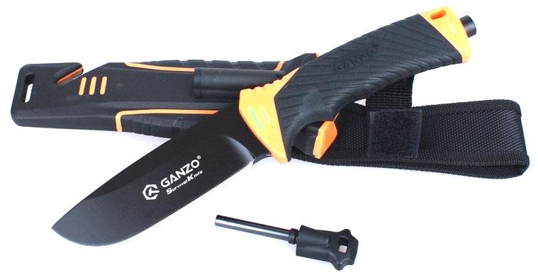 Нож туристический Ganzo, цвет: черный, оранжевый. G8012G8012-ORМодель Ganzo G8012 позиционируется как нож для выживания и целиком соответствует этому назначению. Нож продается вместе с ножнами, оснащенными несколькими дополнительными функциональностями, которые могут оказаться действительно незаменимыми в вашем путешествии.Нож модели Ganzo G8012 стоит взять с собою в путешествие или турпоход, в любую экспедицию. Он создан таким образом, чтобы прийти на помощь своему владельцу даже в самые сложные моменты. Основной материал ножа — сталь марки 7Cr17. Она содержит большое количество углерода и может быть закалена до 57 HRC. При этом, коррозийная стойкость сплава без проблем позволяет использовать его в условиях повышенной сырости. Клинок жестко зафиксирован по отношению к рукоятке, что повышает стойкость ножа к нагрузкам. 11,5 см из общей длины приходится именно на клинок, который имеет прямую заточку. Поверхность лезвия матовая и черная. Помимо того, что такой нож очень стильно выглядит, он вполне может использоваться в тактических целях.Рукоятка изготовлена из пластика ABS. Он относится к группе термопластиков, которые известны прочностью и долговечностью. Рукоятка в данной модели может комбинировать элементы черного и оранжевого цвета, либо черного и зеленого. В этих же оттенках выполнен и чехол для ножа. Он сделан из нейлона и пластика, а нож удерживает внутри при помощи застежки-липучки. С обратной стороны чехла встроена компактная металлическая пластина с алмазным напылением, которая является практичной и легкой точилкой для ровного участка лезвия. Кроме того, в чехол встроен стропорез, а в специальном гнезде закреплено вынимающееся огниво. В дополнение к этому, рукоятка ножа оканчивается небольшим плоским выступом, выполняющим роль стеклобоя.Имея в своем распоряжении ножик Ganzo G8012, можно смело отправляться в любую экспедицию. Ведь он поможет достойно выбраться даже из самых экстремальных ситуаций. Стеклобой закреплен на фиксатор резьбы. Во избежание поломки 
