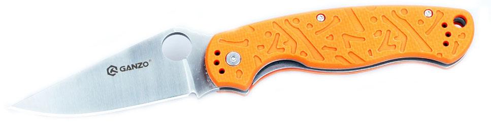 Нож туристический Ganzo, цвет: оранжевый, стальной, длина лезвия 8,8 см. G7301