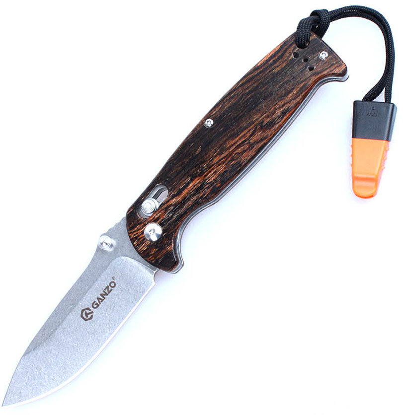 Нож туристический Ganzo, цвет: темно-коричневый, стальной, длина лезвия 8,9 см. G7412-WD1-WS