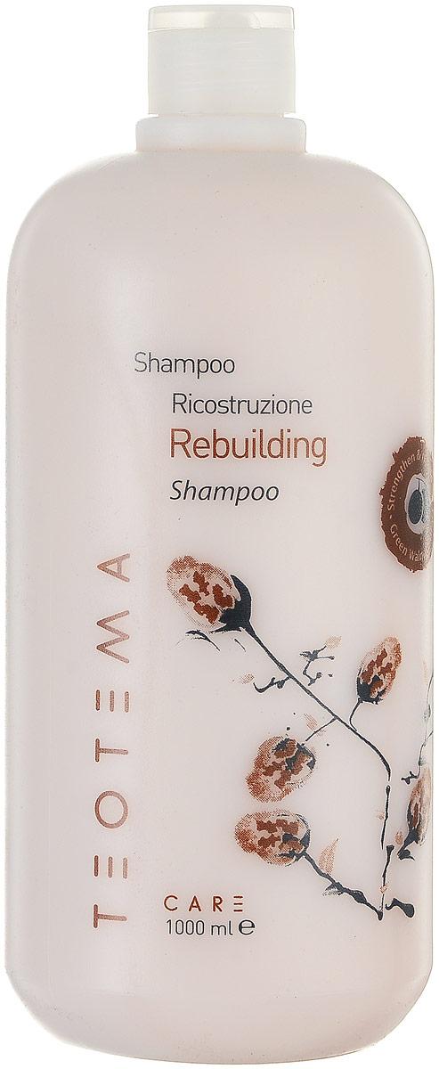 Teotema – Шампунь восстанавливающий 1000 млTEO 4201Инновационная серия «Восстановление» специально разработана для сухих и повреждённых волос и основана на идее регенерации волосяного протеина - кератина - благодаря образованию протеиновой сетки. Эта сетка восстанавливает волосы и обеспечивает им защиту от внешнего агрессивного воздействия. Шампунь разработан для деликатного очищения слабых, повреждённых и чувствительных волос. Восстанавливает повреждённую структуру волос, придаёт дополнительный объём и предотвращает спутывание.
