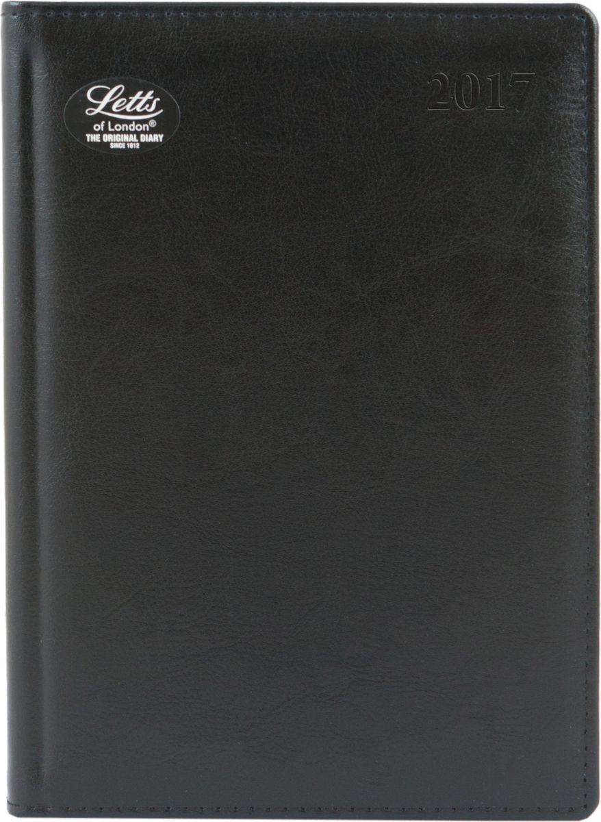 Letts Ежедневник Global Deluxe 2017 датированный 208 листов цвет черный формат А5412127210Утонченный ежедневник Letts Global Deluxe 2017 - идеально подойдёт настоящим ценителям английской классики.Ежедневник выполнен в твердом переплете из нежнейшей натуральной кожи черного цвета. Позолоченный срез страниц, шелковая закладка-разделитель и перфорированные уголки подчеркнут респектабельный стиль владельца.Каждая страница ежедневника имеет почасовую и календарную нумерацию. На каждый час отведено по 2 строчки, а в боковой части страницы находится 24 строчки для телефонных и почтовых заметок. На первых страницах ежедневника представлен информационный блок. Он включает международные коды, часовые пояса, меры длины, веса и других величин, размеры одежды, аэропорты Европы, национальные праздники. Также в данный блок входит график отпусков и календарь с 2016 по 2021 год. В конце ежедневника представлена телефонная книга и цветная карта мира.Ежедневники Letts Global Deluxe 2017 - это высочайшее качество, стиль, динамичность и оригинальность.