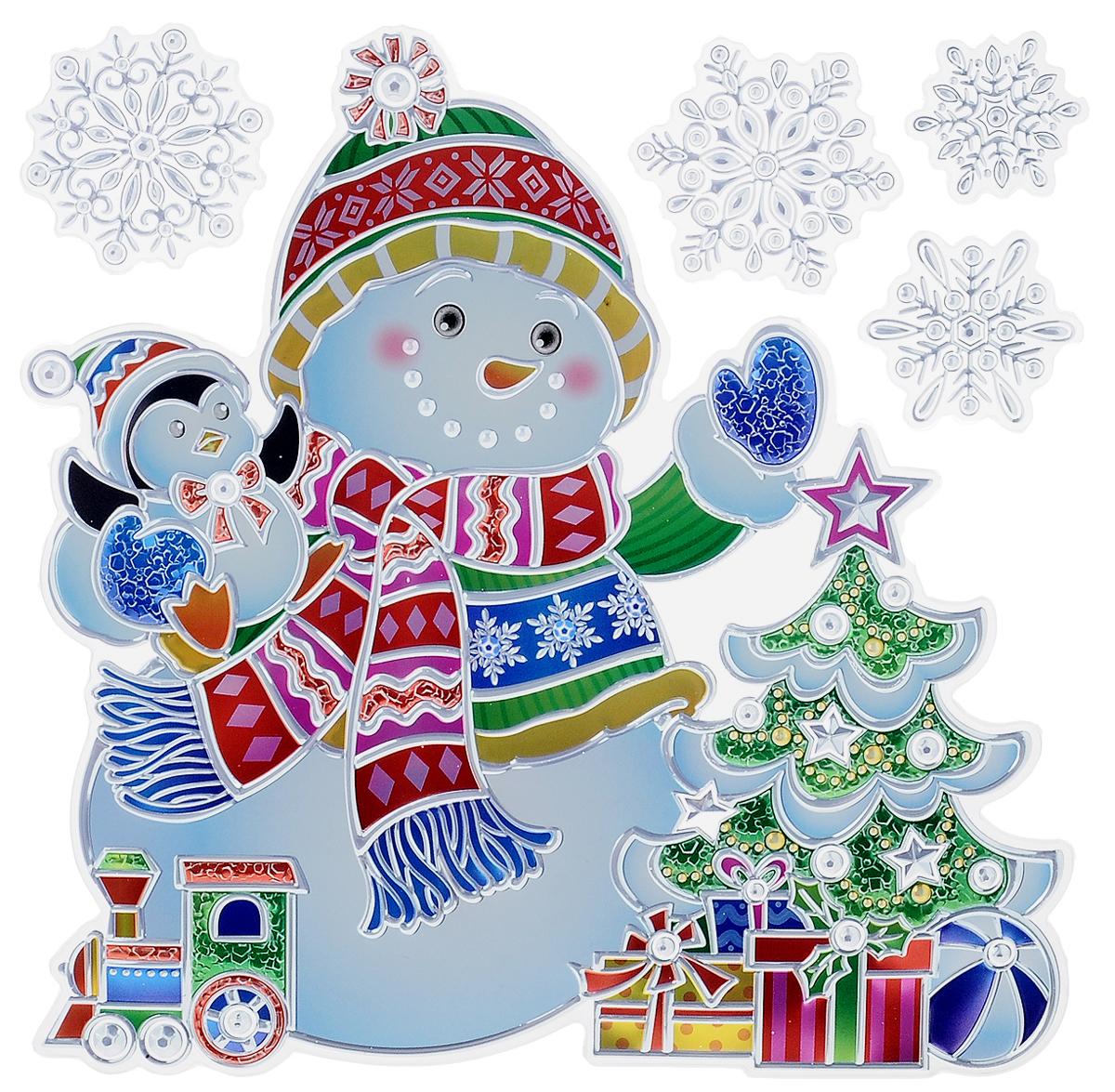 Украшение новогоднее оконное Winter Wings Снеговик с елкой, 5 штN09342Новогоднее оконное украшение Winter Wings Снеговик с елкой поможет украсить дом к предстоящим праздникам. Наклейки изготовлены из ПВХ.С помощью этих украшений вы сможете оживить интерьер по своему вкусу, наклеить их на окно, на зеркало или на дверь.Новогодние украшения всегда несут в себе волшебство и красоту праздника. Создайте в своем доме атмосферу тепла, веселья и радости, украшая его всей семьей. Размер листа: 18 х 24 см. Количество наклеек на листе: 5 шт. Размер самой большой наклейки: 17 х 17,5 см. Размер самой маленькой наклейки: 3 х 3 см.
