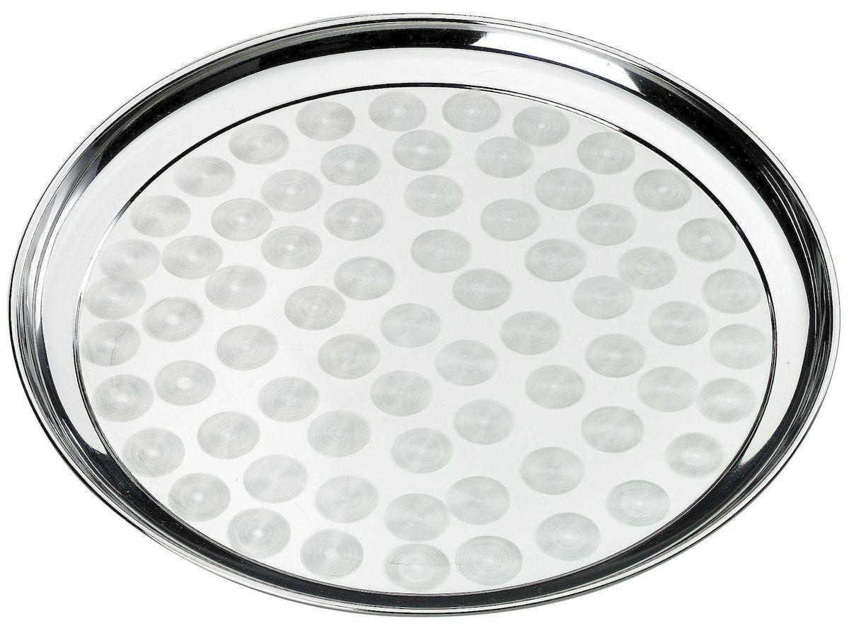 Поднос Axentia, диаметр 40 см116658Круглый поднос Axentia выполнен из высококачественной нержавеющей стали. Он отлично подойдет для красивой сервировки различных блюд, закусок и фруктов на праздничном столе. Благодаря бортикам, поднос с легкостью можно переносить с места на место. Поднос Axentia займет достойное место на вашей кухне. Диаметр подноса: 40 см.